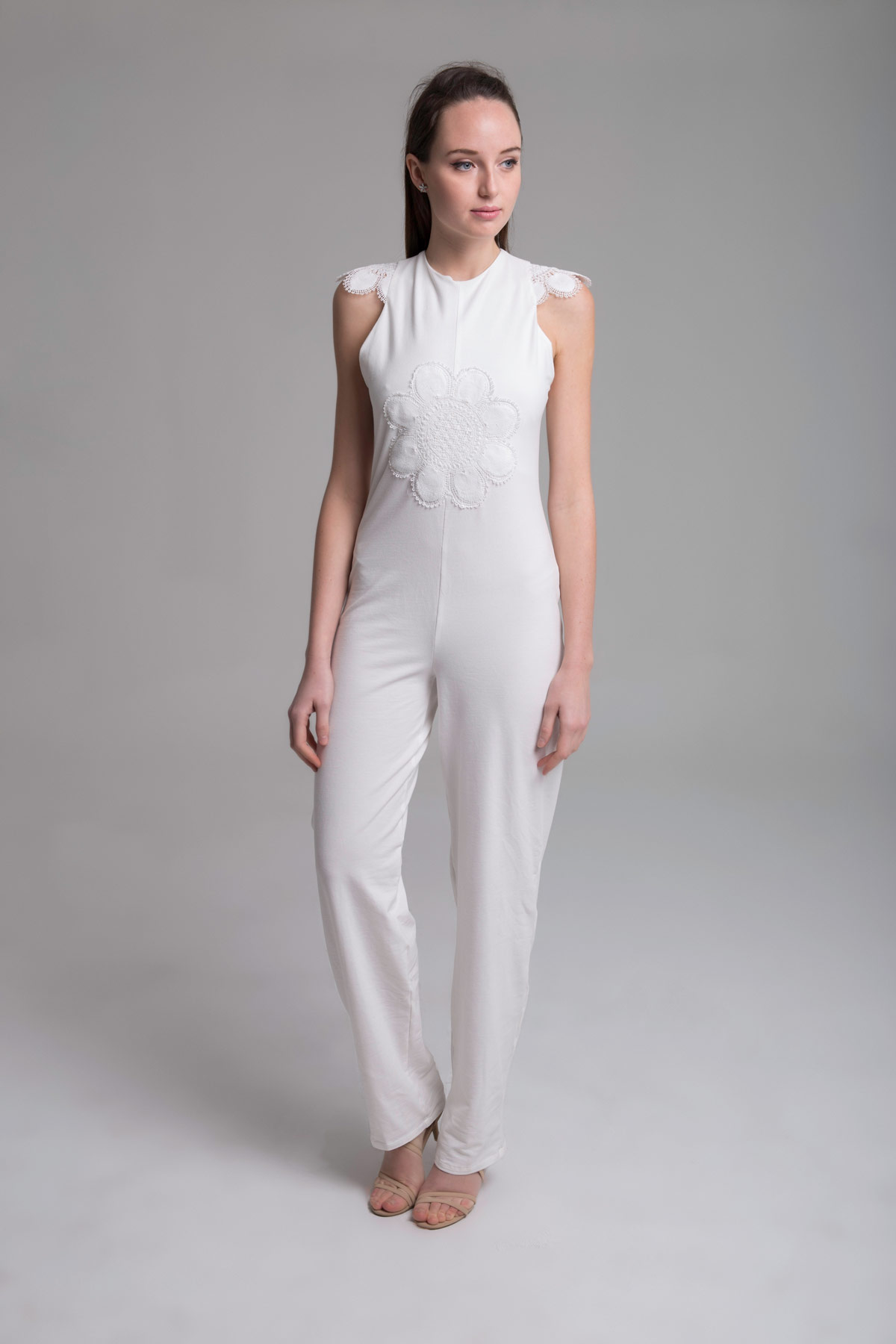 Open Back White Jumpsuit Mammisi