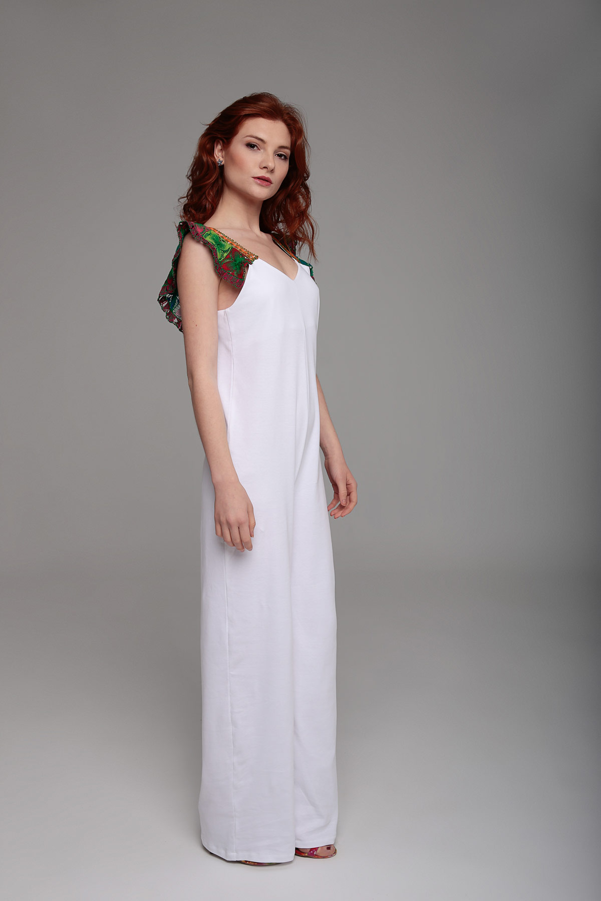 White Jumpsuit with Embroidered Straps