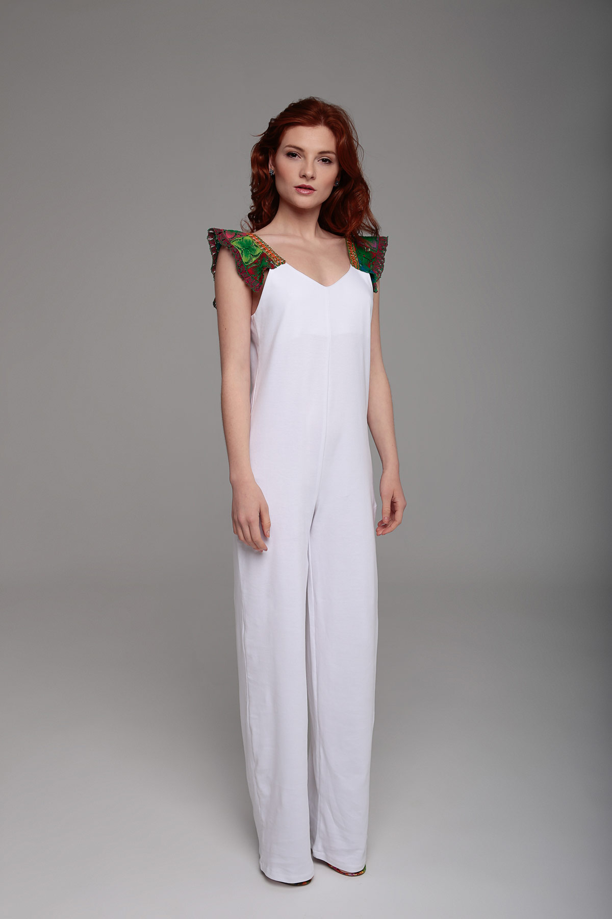 White Jumpsuit with Embroidered Straps Mammisi