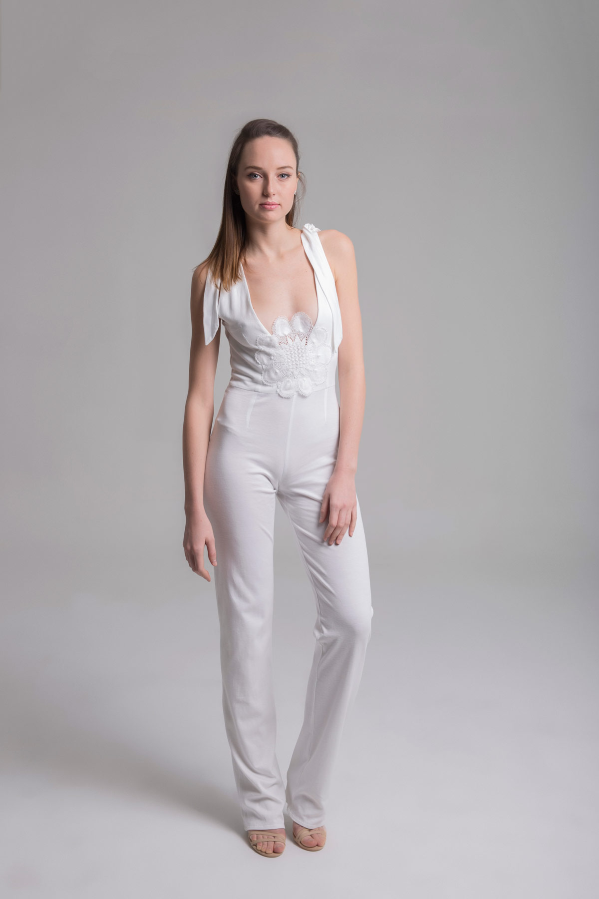 White Jumpsuit with Openwork Back Mammisi