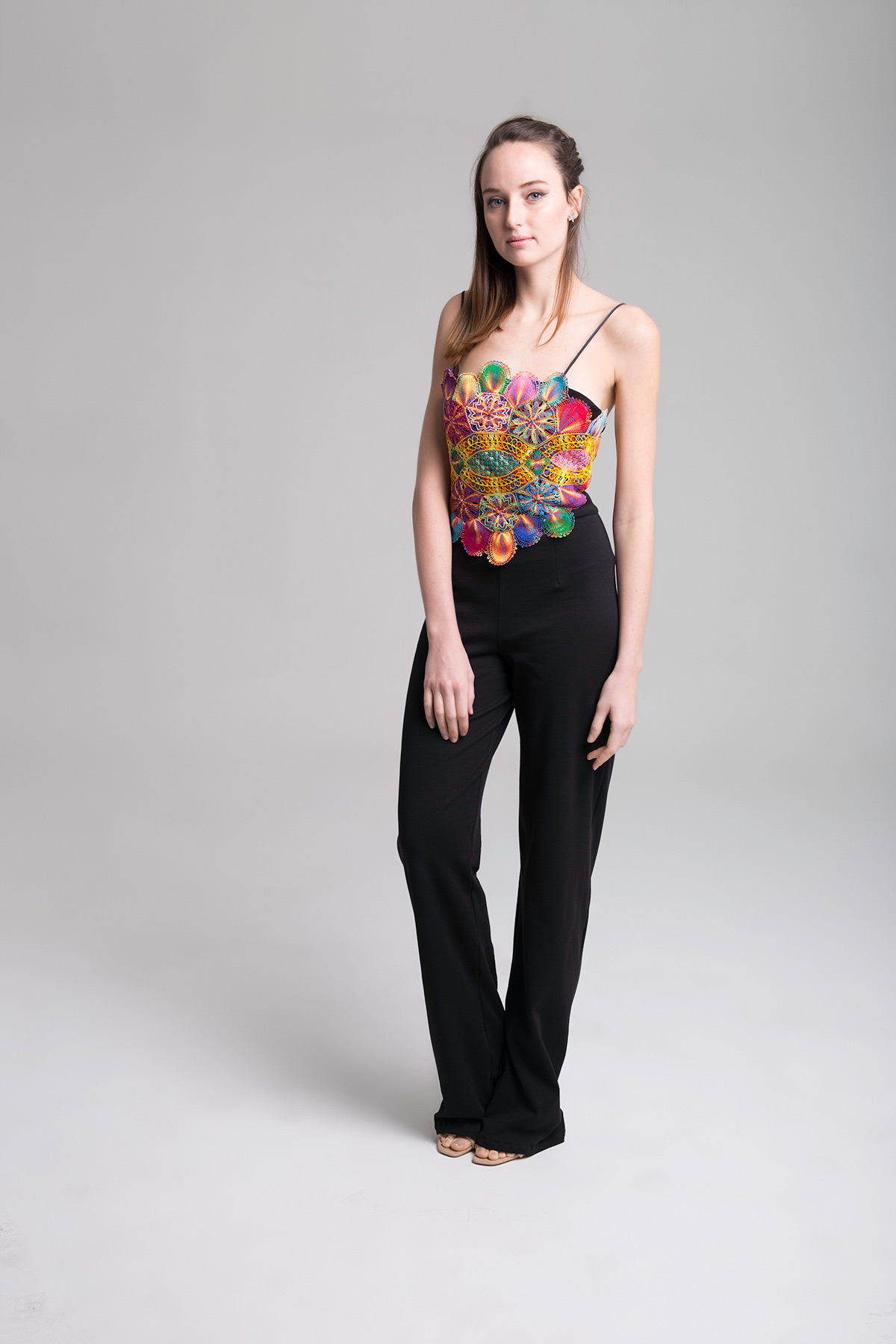Black Jumpsuit with Embroidered Body