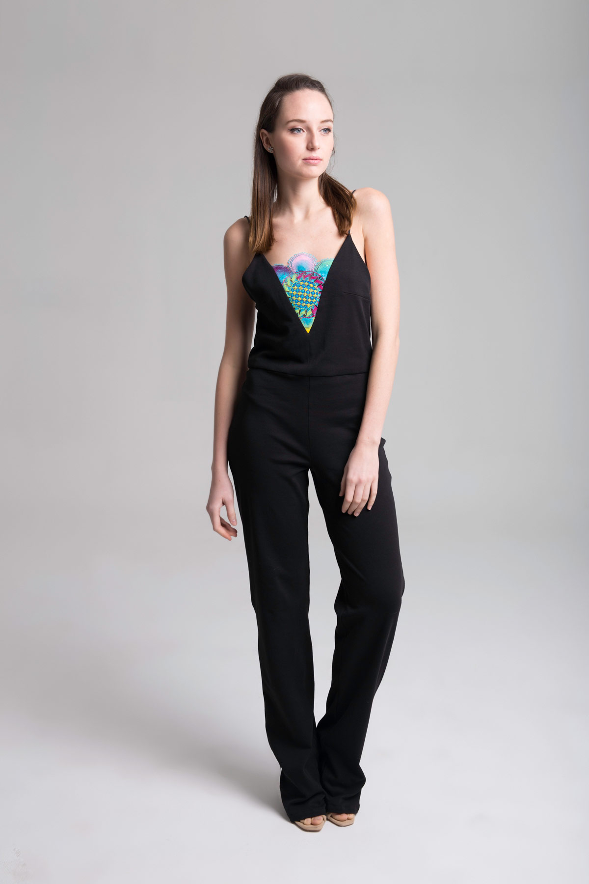 Black Jumpsuit with V-Neck Mammisi