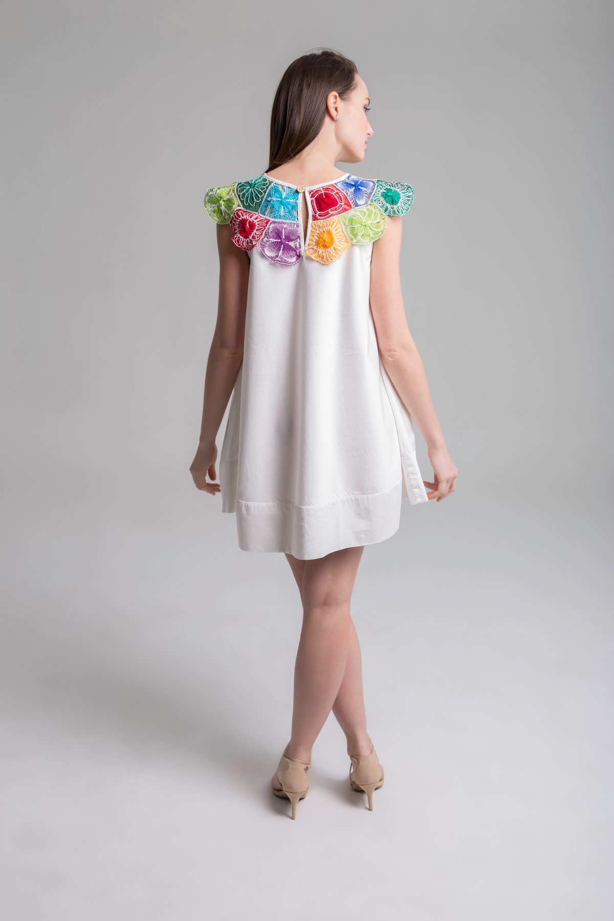 Circular Dress with Embroidered Collar