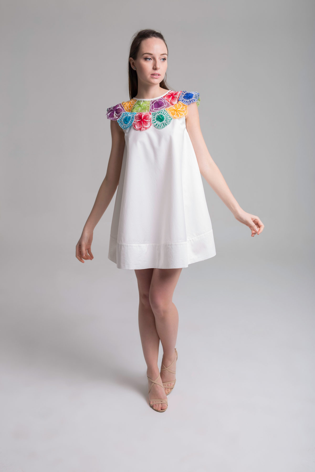 Circular Dress with Embroidered Collar Mammisi