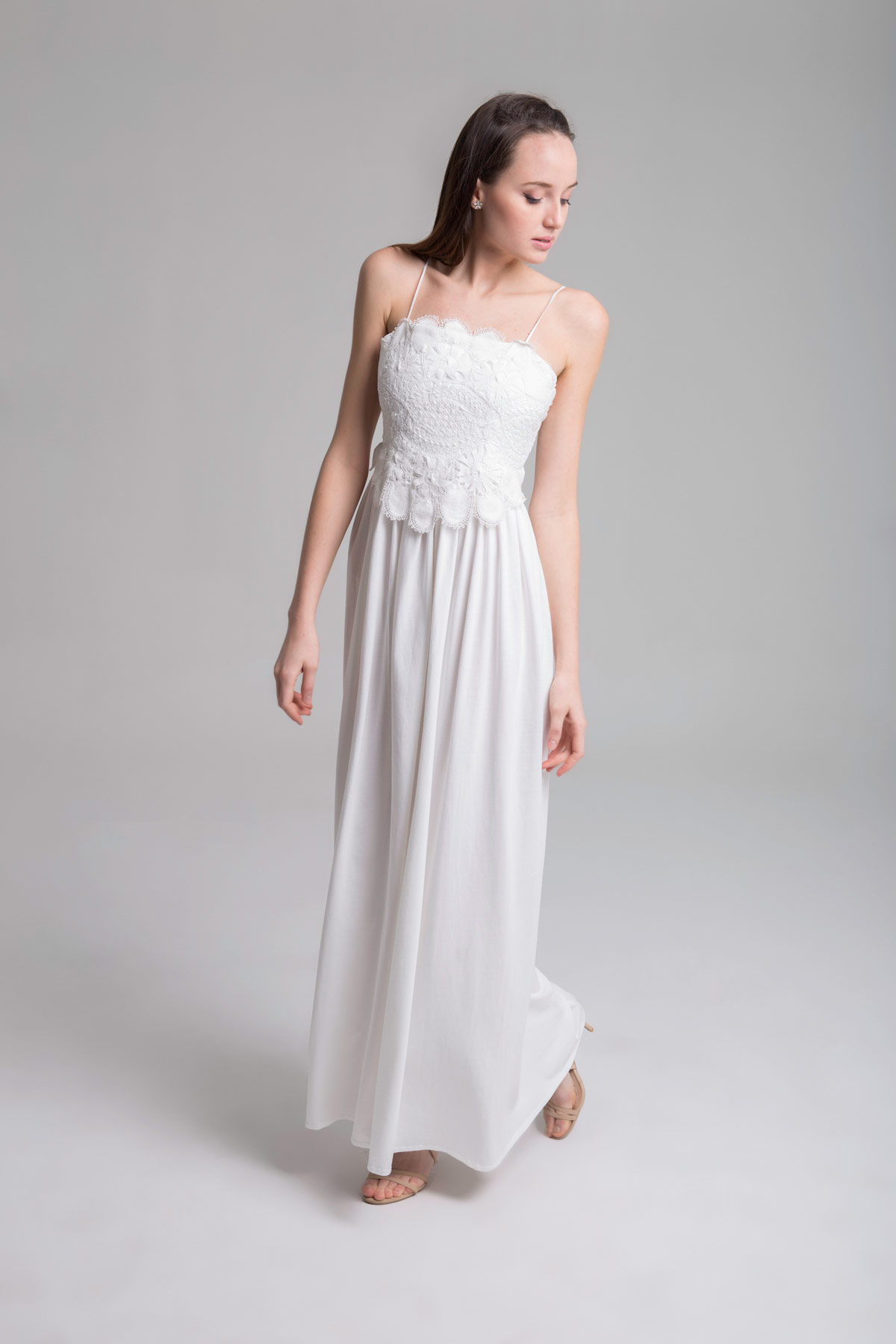 Long Strappy Dress with Embroidered Body Mammisi