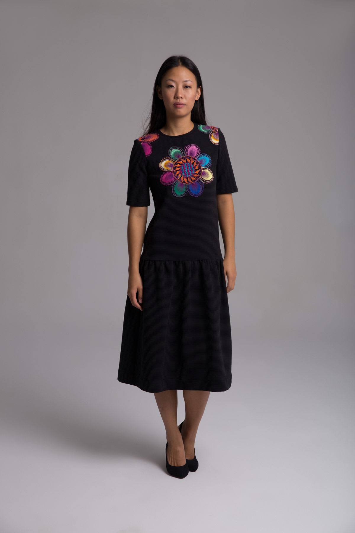 Black Dress with Embroideries Mammisi
