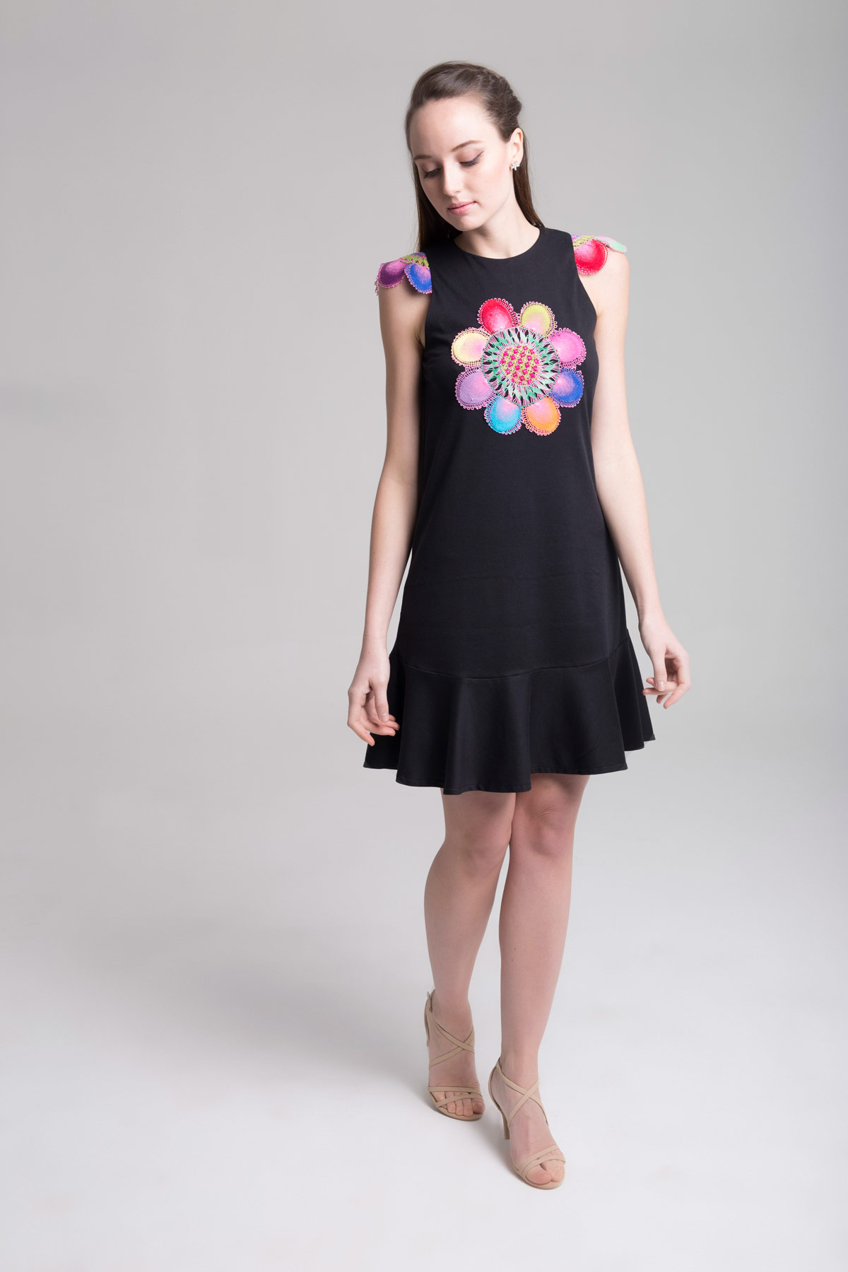 Black Dress with Flounces Mammisi